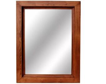 Rustic Wall Mirror - Wood Mirror with Scoop Edge Molding, Timpanogos