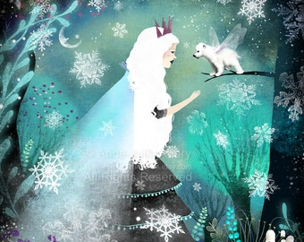 Snow Queen and Fairy Bear - Deluxe Edition Print - Whimsical Art