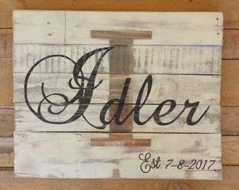 Last Name Last Initial Established Est Sign made from reclaimed pallet wood