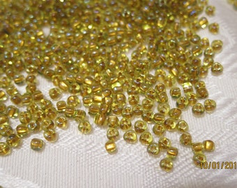 8/0, Miyuki Triangle Beads in Light Topaz-Lined Chartreuse - Available in 20g, 30g & 50g Pkgs and in Larger Pkgs