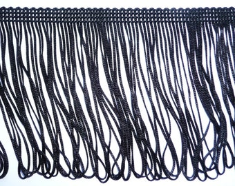 Black Looped Dress Fringe 10cm wide 4inch wide, craft, fashion - sold by the metre