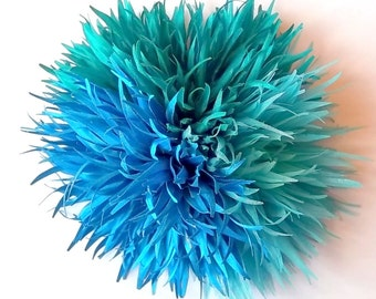 Seablue, Turquoise and Light Blue Chrysanthemum Flower Brooch and/or Hair Pin