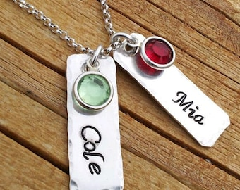 Personalized necklace, hand stamped, Mommy necklace