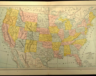 Antique United States Map America Late 1800s Original 1887