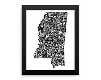 Mississippi typography map art FRAMED print customizable state poster wedding engagement graduation gift anniversary personalized wall decor