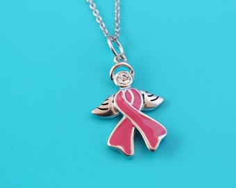 PINK AWARENESS RIBBON Angel  Stainless Steel Necklace,Breast Cancer Patient,angel,Breast Cancer Survivor,Fight,115