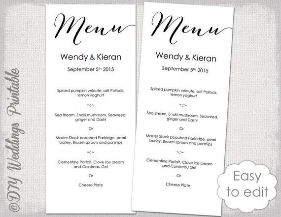Wedding Menu Template Modern Calligraphy Script Black Menu Diy