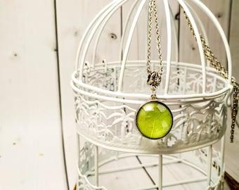 Gardening gift Transparent jewelry Green leaf pendant Girlfriend necklace Tiny gift Terrarium Leaf skeleton Birthday necklace Leaf necklace