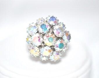 Vintage Signed Sarah Coventry Aurora Borealis Rhinestone  Ring
