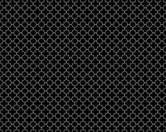 Mini Quatrefoil Fabric in Black  - Fabric by the yard