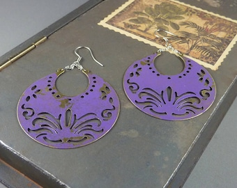 The Royals. Purple Boho Statement Earrings. shabby chic earrings. chandelier earrings. moon earrings. patina earrings. large earrings.