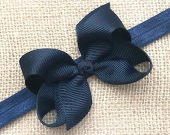 Navy Baby Headband Navy Easter Headband Newborn Bow Headband Navy Bow Headband Navy Baby Bow Headband Navy Infant Toddler Headband Blue