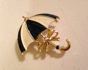 1960's Vintage Gold Plated Blue and White Enamel Umbrella Brooch/Pin
