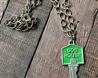Vintage Extra Large over 4 inch DOG HOUSE Green Key Long Chain Necklace