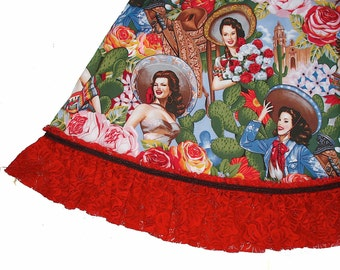 Outlaw Soaps Western Skirt Senoritas - womens Large XL XXL Southwest Mexican cowgirl pinups sombrero rose tan blue cinnamon red lace  ruffle