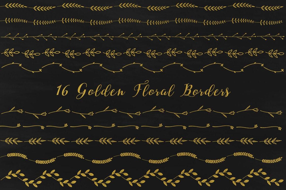 Gold floral Grenzen goldene floral Ränder Rahmen clipart