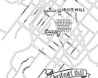 Chestnut Hill Hand-Drawn Map Philadelphia 8x10