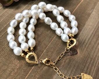 Pearl and Gold Bracelet Beaded Bracelet Multi-Strand Bracelet Adjustable Bracelet Pearl Bracelet Gifts For Her Under 50 Gemstone Bracelet