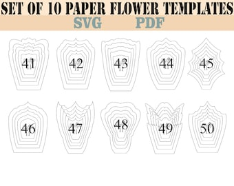 10 PDF & SVG Paper Flower Template . Giant Paper Flower Template.DIY Paper Flower Template