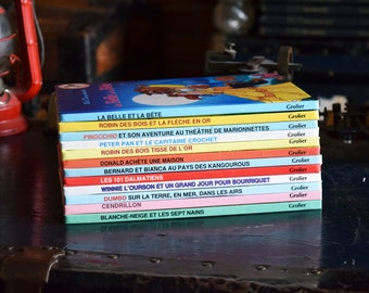 Vintage Walt Disney Childrens Books - Set of 12 Hardcovers - Mickey Mouse Club du Livre Book Collection - French Language - Grolier Montreal