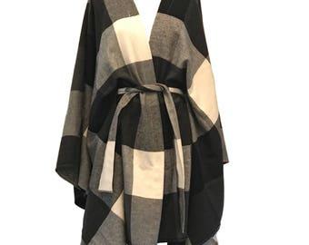 Kimono Plaid Poncho