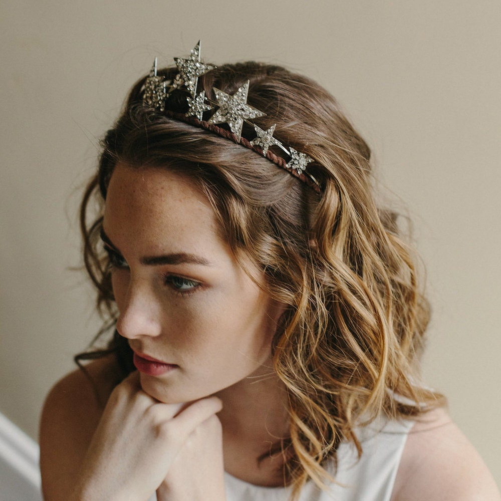 star tiara bridal crown hair accessory stargazer style