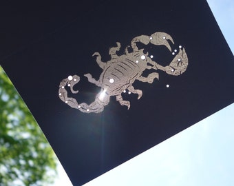 SCORPIO, the Scorpion - October November Birthday Shadow Zodiac Constellations Greek Illustration Hand Embossed & Hammered Greeting Art Card