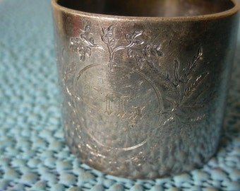 Shabby Edwardian Silver Plate Napkin Ring ELLA