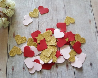 Heart Confetti(240pc),Bridal Shower Decor,Glitter Gold confetti,Wedding hearts,Gold and Pink Heart confetti, Pink and Gold heart confetti