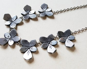 "Rune Ottosson, Romantic Pewter Collier Necklace, ""Pansies"", Sweden, 1970s (F1111)"