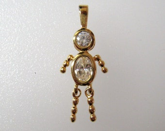 "April Birthstone Boy Charm Pendant, Vintage Gold Over Sterling Mother's Charm, Dangly Legs, 1 3/16"" L x 1/2"" W"
