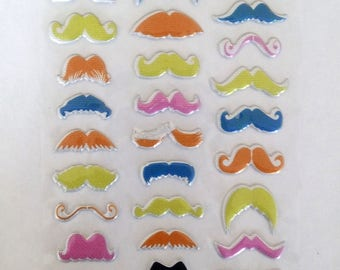 Multicolored mustache stickers