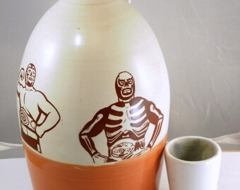 luchador growler ceramic handmade
