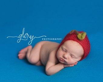 Newborn photo prop, Newborn baby apple bonnet.. Mohair