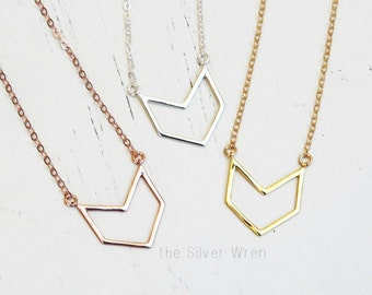 Chevron Necklace, Delicate Necklace, Simple Necklace, Everyday Necklace, SILVER, ROSE or GOLD Necklace, Layered Necklace