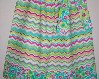 18m Pillowcase Dress Chevron Dress with Flowers Girls Dresses with Chevron Pretty Dresses Toddler Dresses Coordinating Dresses Girls Outfit