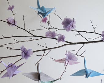Origami Crane Mobile - Nursery Mobile, Origami Birds, Baby Mobile, Hanging Mobile, Origami, Bird Mobile, Baby Gift, Baby Shower.