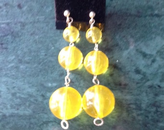 Neon Yellow Large  Earrings  in Plastic  and Sterling Silver