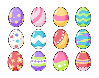 Pattern Easter Egg Icon Set | Digital PNG-Ai-EPS-PDF | Instant Download