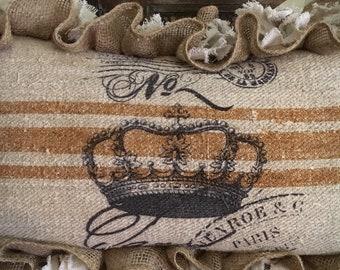 Vintage European Grain Sack Pillow W/French Crown Image