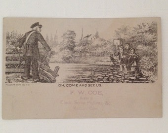 Antique Victorian Trade Card F W Coe Madison CT Vintage Ad Business Card