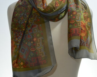 Long vintage scarf: Plaid, floral, traditional grey, olive green, rust, ornate, patchwork