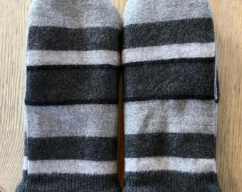 Felted Recycled Wool Sweater Mittens - Black/Gray Stripe