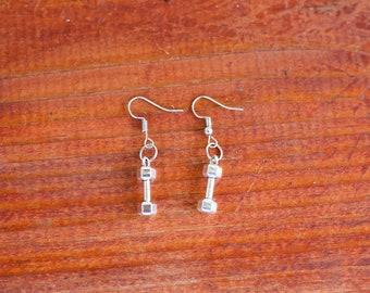 Silver Dangle Hook Earrings With Dumbbells