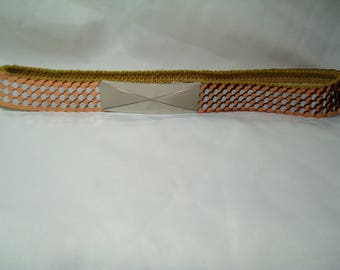 Vintage Copper and Silver Tone Stretchy Metal Belt.