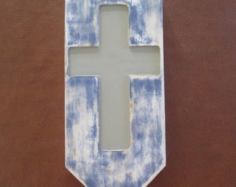 Engraved Wooden Cross, Christian Wall Decor, Hand Painted Wall Art