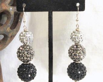 Acrylic Disco Ball Earrings, Chandelier Earrings, Handmade Earrings,Black, Pewter and Silver Earrings, Clip On or Post Option, Cruise Wear