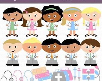 Doctor Kids Digital Art Set Clipart Commercial Use Clip Art INSTANT Download Doctor Clipart Medical Clipart