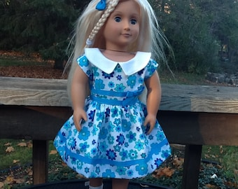 18 Inch Doll Clothes Blue Flowered 1950's Dress to fit dolls like American Girl, girls gifts, aqua flowered dress