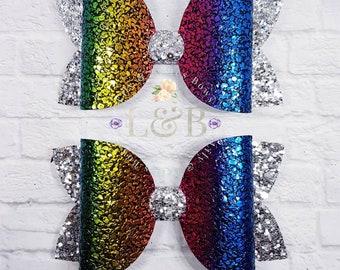 rainbow hair bows, rainbow bows, rainbow, bows, large clips.